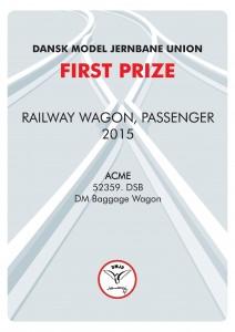 DIPLOMER 7, Rail Wagon Passenger, First Prize, A.C.M.E.
